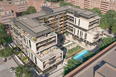 Edificio residencial en Sanchinarro con energía renovable